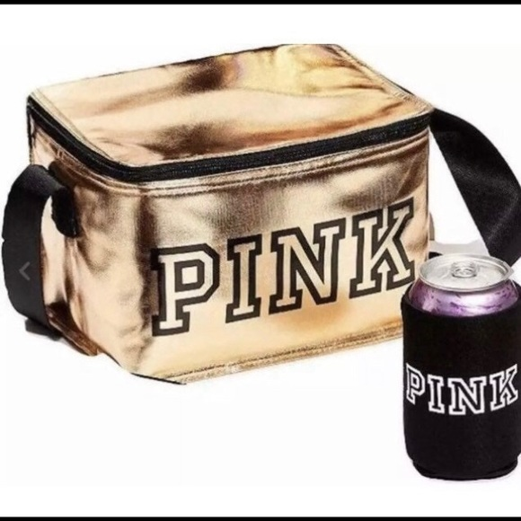 Pink VS Zip-up Cooler Lunch Box Bag with Koozie
